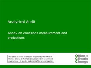 Primary view of object titled 'Analytical Audit: Annex on emissions measurements and projections'.