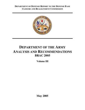 Primary view of object titled 'BRAC 2005 DoD Report Volume III (Dept of the Army BRAC Report)'.