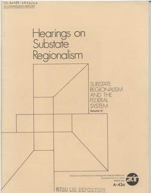 Primary view of object titled 'Hearings on substate regionalism'.