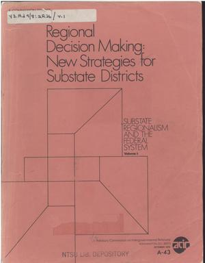 Regional decision making: new strategies for substate districts
