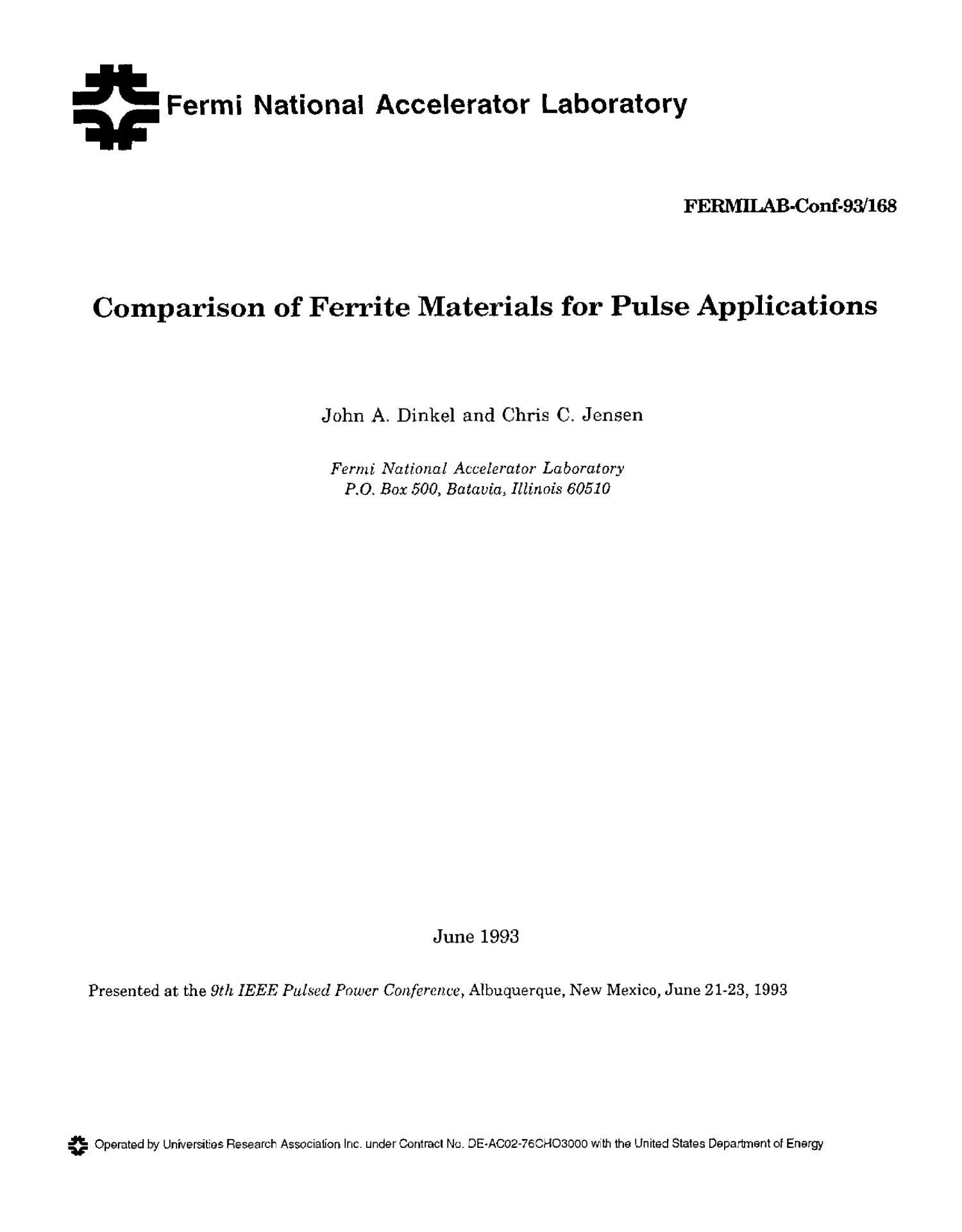 Comparison of ferrite materials for pulse applications - Digital Library