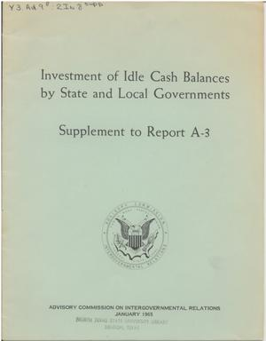 Primary view of object titled 'Investment of idle cash balances by state and local governments'.