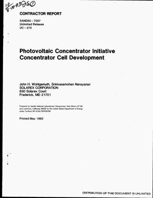 Primary view of object titled 'Photovoltaic concentrator initiative: Concentrator cell development'.