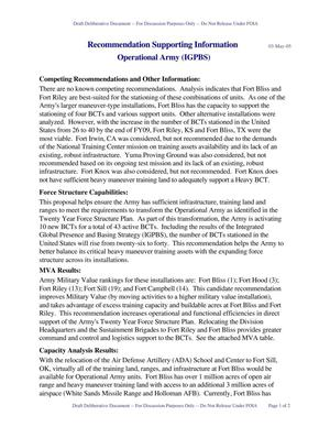 Primary view of object titled 'BRAC 2005 DoD Report: Army Justification Book (IGPBS/Ft. Bliss,KS)'.