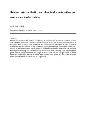 Relations between identity and educational quality within preservice music teacher training