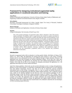Framework for designing motivational augmented reality applications in vocational education and training