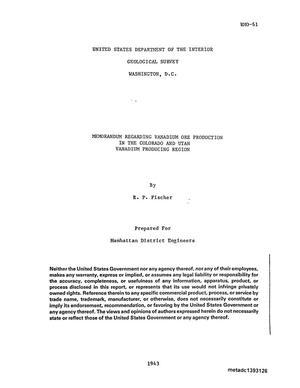 Primary view of Memorandum regarding vanadium ore production in the Colorado and Utah vanadium producing region