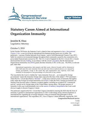 Statutory Canon Aimed at International Organization Immunity
