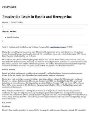 Postelection Issues in Bosnia and Herzegovina
