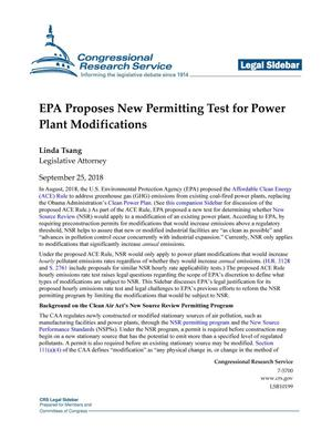 EPA Proposes New Permitting Test for Power Plant Modifications