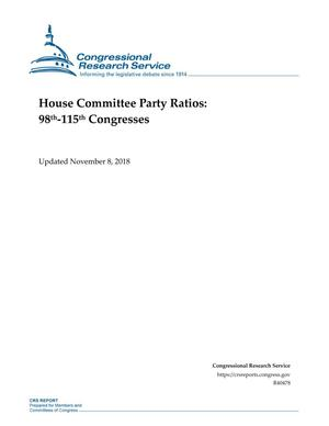 Primary view of object titled 'House Committee Party Ratios: 98th-115th Congresses'.