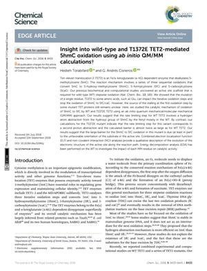 Primary view of object titled 'Insight into wild-type and T1372E TET2-mediated 5hmC oxidation using ab initio QM/MM calculations'.