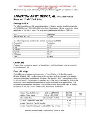 Primary view of object titled 'BRAC 2005 DoD Report: Army Justification Book (Reserve Center Transformation in Alabama)'.