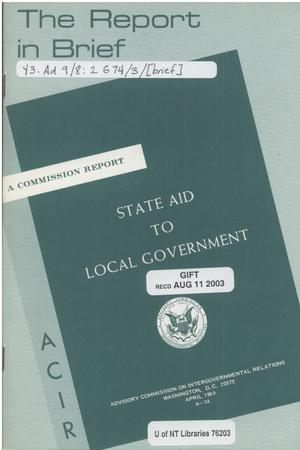 Primary view of object titled 'The report in brief: state aid to local government'.