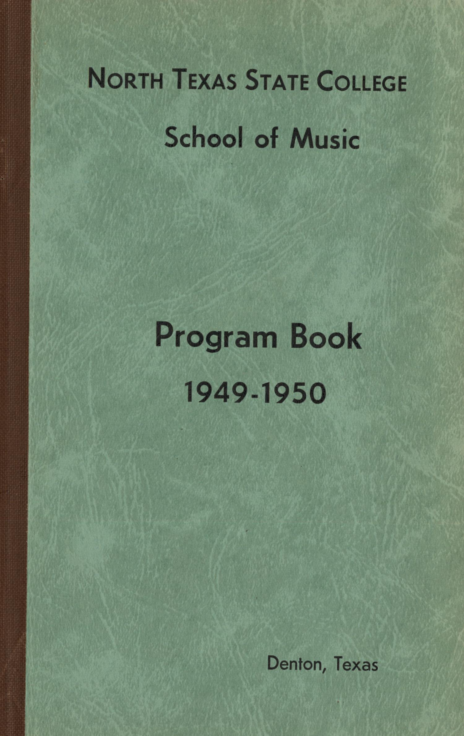 School of Music Program Book 1949-1950                                                                                                      Front Cover