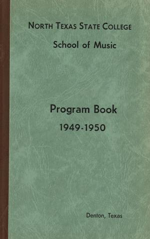 Primary view of object titled 'School of Music Program Book 1949-1950'.