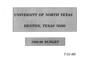 Primary view of object titled 'University of North Texas Budget: 1989-1990'.