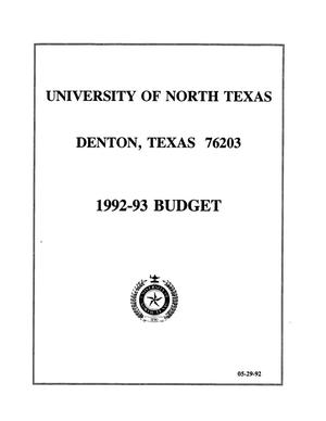Primary view of object titled 'University of North Texas Budget: 1992-1993'.