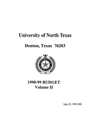 University of North Texas Budget: 1998-1999, Volume 2