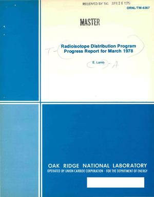 Primary view of object titled 'Radioisotope Distribution Program. Progress report for March 1978'.