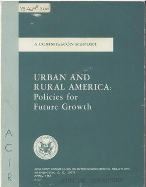 Primary view of object titled 'Urban and rural America: policies for future growth'.