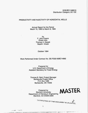 Primary view of object titled 'Productivity and injectivity of horizontal wells. Annual report, March 10, 1993--March 9, 1994'.