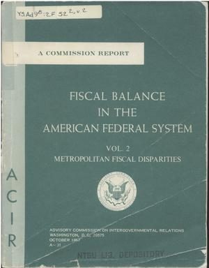 Primary view of object titled 'Fiscal balance in the American Federal system'.