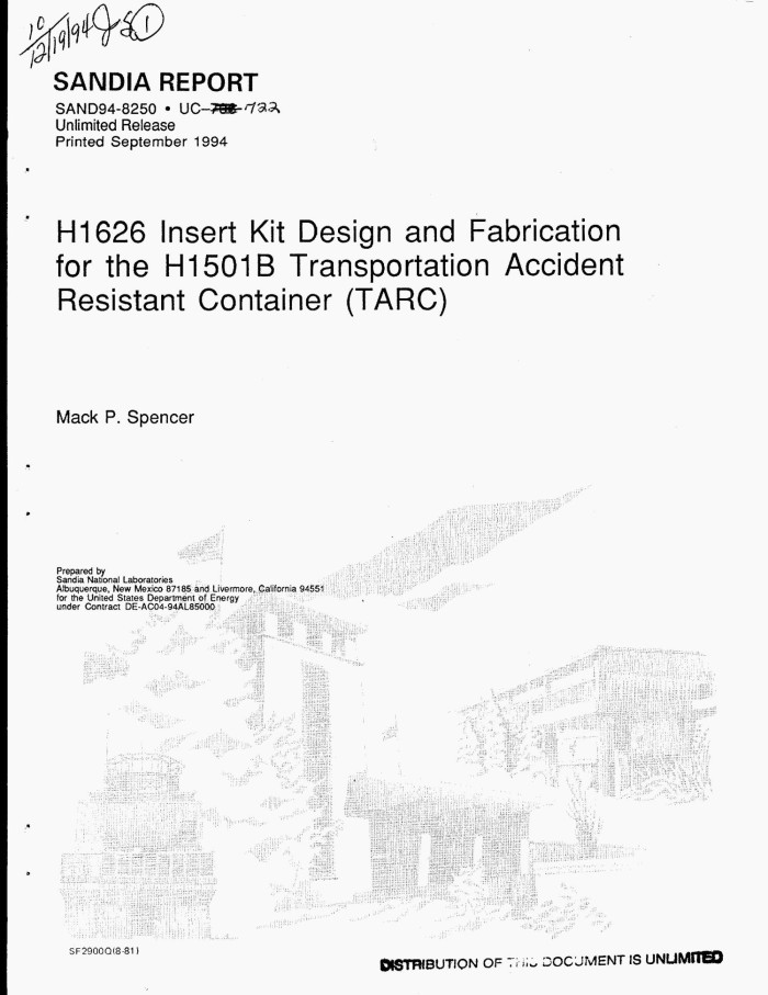 H1626 Insert Kit design and fabrication for the H1501B