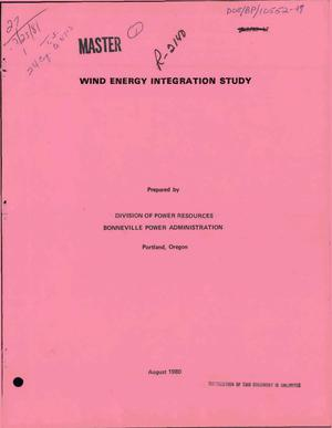 Primary view of Wind Energy Integration Study