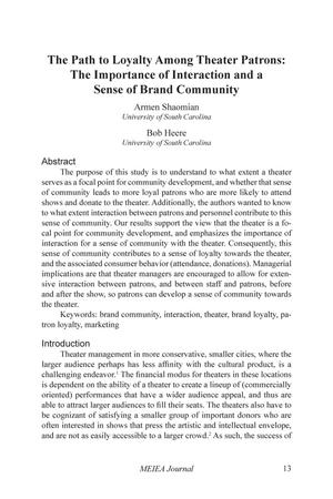 The Path to Loyalty Among Theater Patrons:  The Importance of Interaction and a Sense of Brand Community