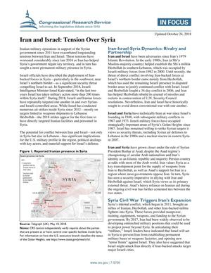 Primary view of object titled 'Iran and Israel: Tension Over Syria'.