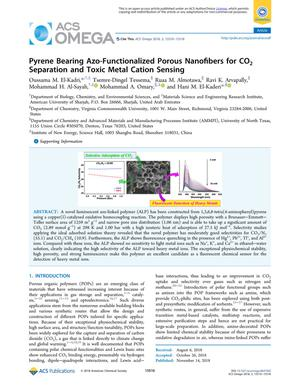 Pyrene Bearing Azo-Functionalized Porous Nanofibers for CO₂ Separation and Toxic Metal Cation Sensing
