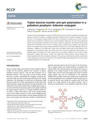 Triplet electron transfer and spin polarization in a palladium porphyrin–fullerene conjugate