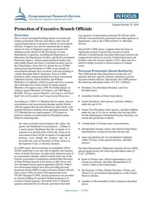 Primary view of Protection of Executive Branch Officials
