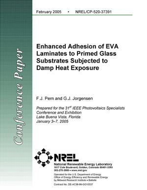 Primary view of object titled 'Enhanced Adhesion of EVA Laminates to Primed Glass Substrates Subjected to Damp-Heat Exposure'.