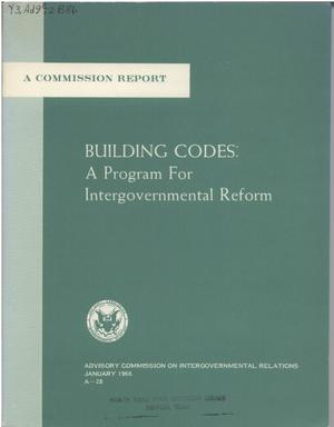 Primary view of object titled 'Building codes: a program for intergovernmental reform'.