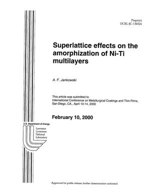 Primary view of object titled 'Superlattice effects on the amorphization of ni-ti multilayers'.