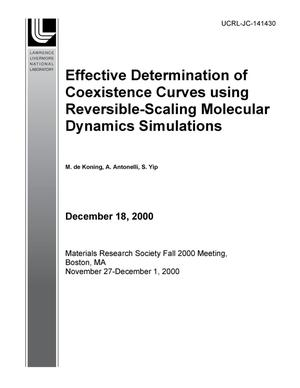 Primary view of object titled 'Effective determination of coexistence curves using reversible-scaling molecular dynamics simulations'.