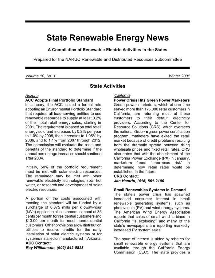 Renewable Energy News >> State Renewable Energy News Vol 10 No 1 Winter 2001