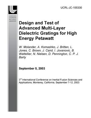 Primary view of object titled 'Design and Test of Advanced Multi-Layer Dielectric Gratings for High Energy Petawatt'.