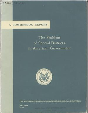Primary view of object titled 'The problem of special districts in American government'.
