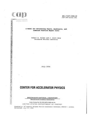 Primary view of object titled 'A MODEL FOR DETERMINING DIPOLE, QUADRUPOLE, AND COMBINED FUNCTION MAGNET COSTS.'.