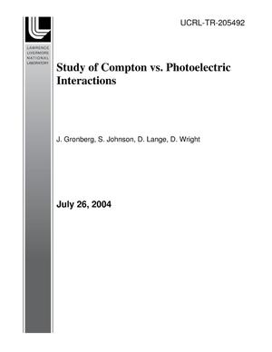 Primary view of object titled 'Study of Compton vs. Photoelectric Interactions'.