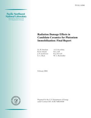 Primary view of object titled 'Radiation Damage Effects in Candidate Ceramics for Plutonium Immobilization: Final Report'.