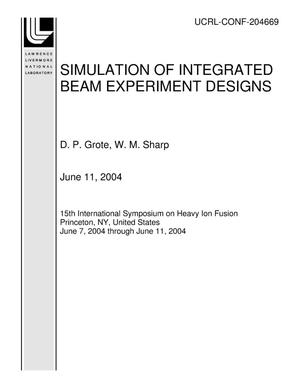 Primary view of object titled 'SIMULATION OF INTEGRATED BEAM EXPERIMENT DESIGNS'.