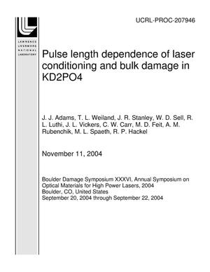 Primary view of Pulse length dependence of laser conditioning and bulk damage in KD2PO4