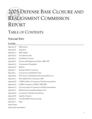 Primary view of object titled '2005 Defense Base Closure and Realignment Commission Report: Volume 2'.