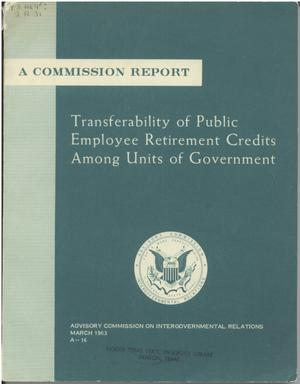 Primary view of object titled 'Transferability of public employee retirement credits among units of Government'.