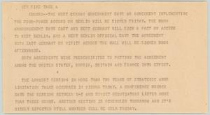 Primary view of object titled '[News Script: Accord on Berlin]'.
