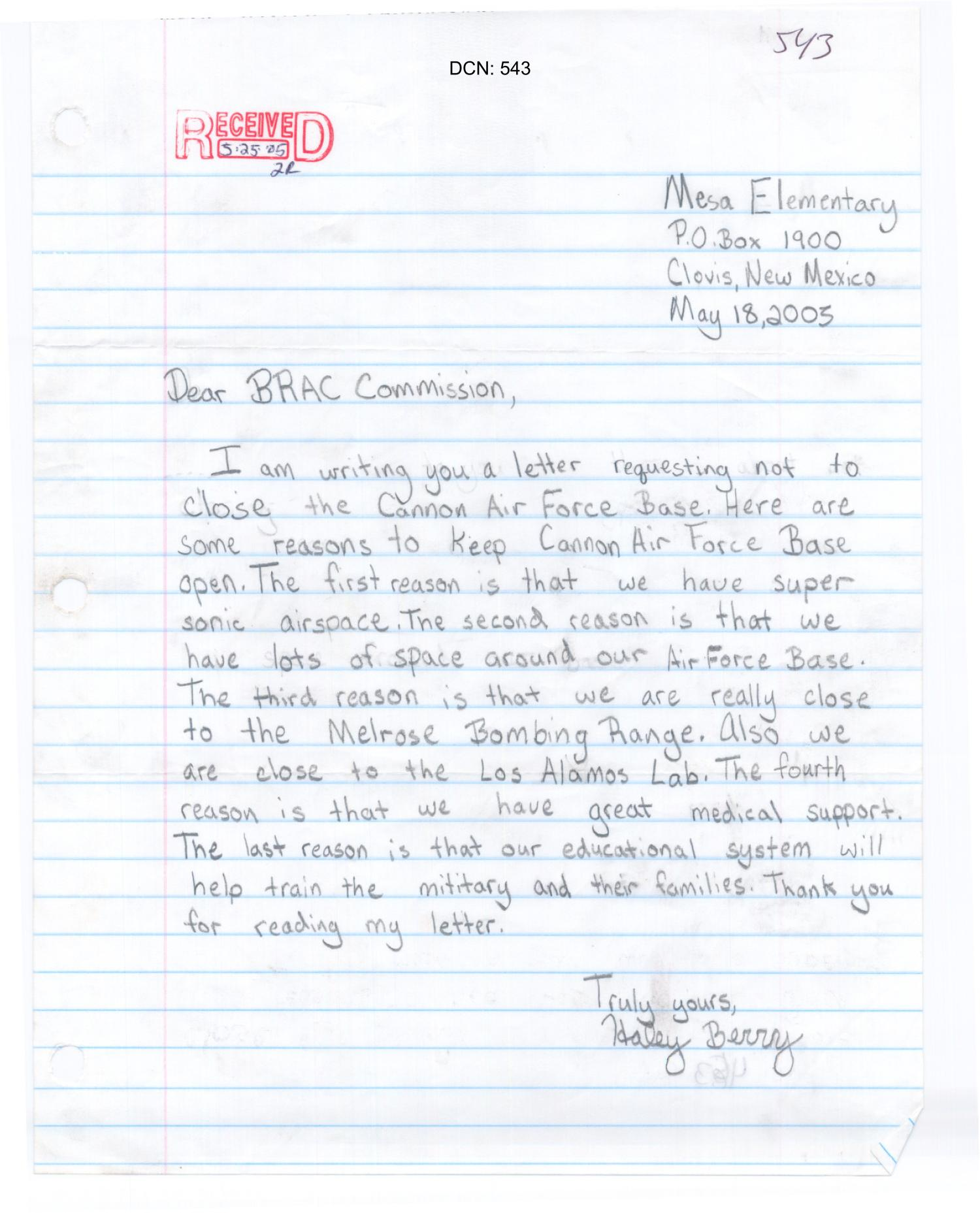 Cannon Air Force Base - LTR ICO - Mesa Elementary Student                                                                                                      [Sequence #]: 1 of 1